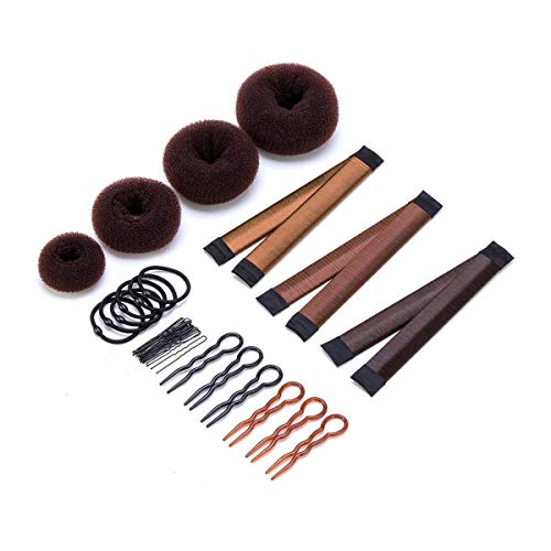 11 Pack Donut Hair Bun Maker Set, 4 Donut Bun Makers + 3 Magic Twist Hairstyle Clips +1 Bag Hair Pin + 6 Grip Hair Pins and 6 Hair Elastic Bands for Women Girls (Brown) by Homfshop