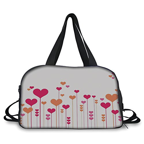 iPrint Travelling bag,Abstract Home Decor,Abstract Heart Flowers Floral Romantic Love Wedding Anniversary Theme Decorative, ,Personalized by iPrint