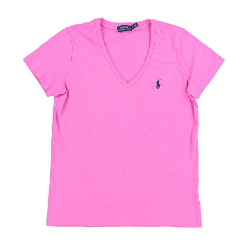 Polo Ralph Lauren Womens V-Neck Jersey T-Shirt (Medium, Polo Pink)