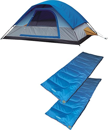 A Alpinizmo 5 Men Dome Tent + Two 20F Sleeping Bags Combo Set, Blue, One Size -