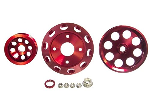 (P2M P2-EPKNS13R-CCR Red Aluminum Pulley Kit - Nissan S13 SR20DET)
