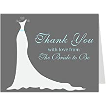 Bridal Shower Thank You Cards, Wedding Dress, Wedding Shower, Aqua, Gray, from the Bride to Be, Future Mrs., Soon to Be, Simple Gown, Gown, Set of 50 Thank You Notes with Envelopes (Gray with Aqua)