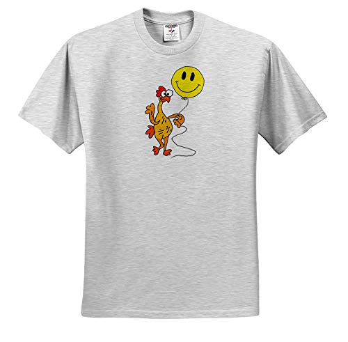 All Smiles Art - Funny - Cute Funny Rubber Chicken with Smiley face Balloon Cartoon - T-Shirts - Toddler Birch-Gray-T-Shirt (4T) (ts_291182_33) ()