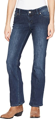 Jeans Rise Zip Fly Mid (Wrangler Women's Retro Mae Mid-Rise Jeans Dark Wash 3 36)
