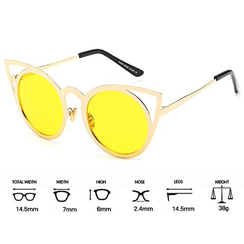 Frames Mirror 11 Color Cat Shades MEIHAOWEI Femme Vintage Eye Metal Sunglasses YaO7Zwq