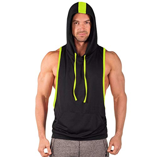 iHPH7 Vest Mens Premium Fitted Vest Tank Hoodies Sleeveless Men Striped Hooded Sports Vest Striped Splice Large Open-Forked Male Vest XL Green
