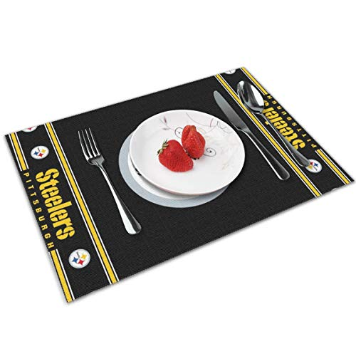 - Gdcover Pittsburgh Steelers Placemats Set of 4 for Dining Non-Slip Heat-resistand Washable Kitchen Table Mats - 12x18 Inches