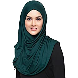 Hana's Womens Plain Instant Cotton Jersey Lightweight Hijab Scarf One Size Black