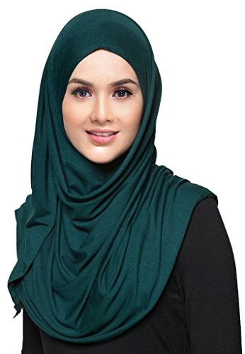 Hana's Womens Plain Instant Cotton Jersey Lightweight Hijab Scarf One Size Beige (Jersey Cotton Scarf)
