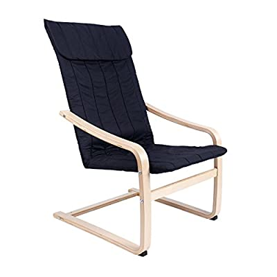 Clearance Emall Life Reclining Bentwood Chair Armchair with Cushion Cover and Wooden Frame, Brown/Black/White/Coffee Poang Chair ...