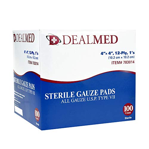 Dealmed Sterile Gauze Pads, Individually Wrapped Absorbent 4