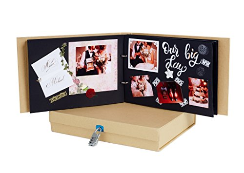 Scrapbook Album with Storage Box - DIY Scrapbooking Kit with Black Refill Pages - Ideal for Wedding Baby Travel Adventure Polaroid Guest Book - Create Your Own Memory Scrap Book or Photo Album (Mini Scrapbook Kit)