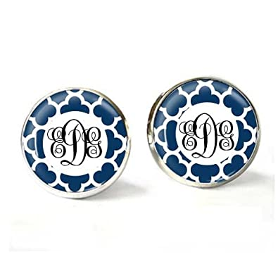 8b8f1e66cebb1 Amazon.com: Round Blue Glass Dome Earrings Letter D Initial Monogram ...