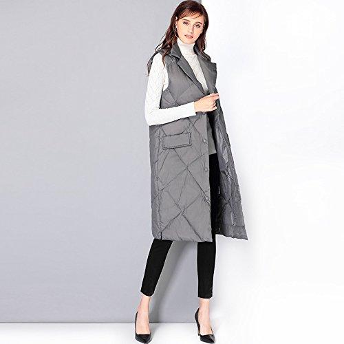 FYM Sleeveless Grey Lapel Medium Button Pocket Vest COAT S Coat Length DYF Jacket Down zz7arq