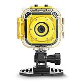 MUTANG Kids Action Camera 1080P Digital Sport Camera Underwater Camcorder Waterproof 98 Feet with 1.77 LCD Screen Blue, Yellow