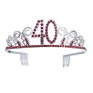 Beaupretty 40 cumpleaños corona tiara cristal rhinestone ...