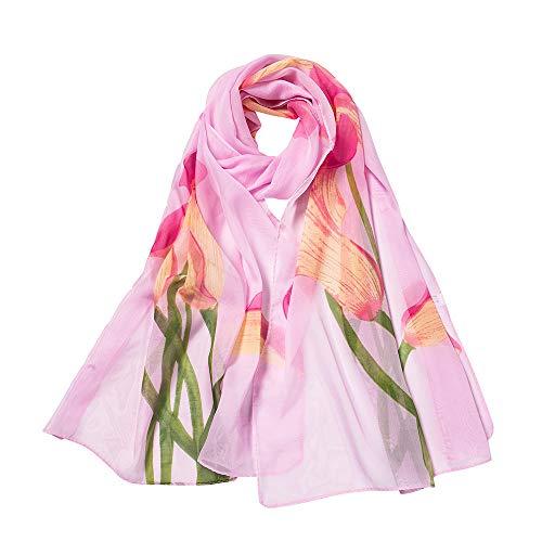 mujer gasa noche elegante moda Aimee7 rosa larga bufanda impresa bufanda fgxqHxwU