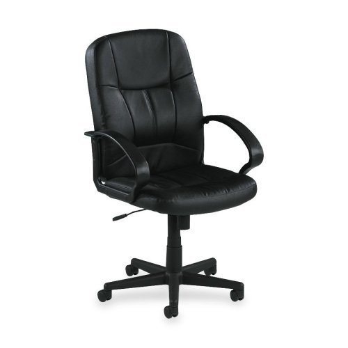 Lorell Mid-Back Managerial Chair, 26 by 28 by 42-1/2-Inch, Black Leather LLR60121
