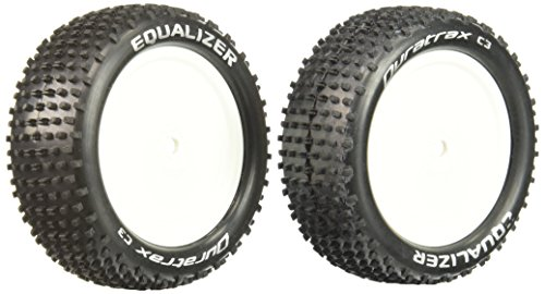 4wd Tires Wheels (Duratrax Equalizer 1:10 Scale RC 4WD Buggy Tires with Foam Inserts, C3 Super Soft Compound, Mounted on Front White Wheels, Fits the Team Associated B44 (Set of 2))