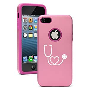 Apple iPhone 5c Pink CD2030 Aluminum & Silicone Case Cover Stethoscope in Shape of Heart Nurse Doctor
