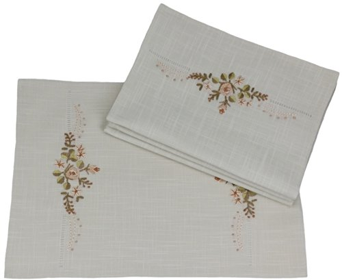 Beige Table Napkins (Xia Home Fashions Flowers Crewel Embroidered with Hemstitch Placemats, 12 by 18-Inch, Beige Linen, Set of 4)