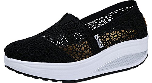 Moda Para Mujer Adulta Ups Mesh Walking Zapatos Zapatillas De Moda Casual Negro
