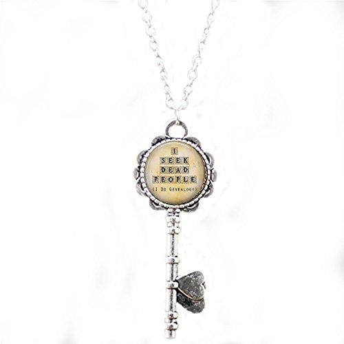 Genealogy Key Necklace - I Seek Dead People - Genealogy Jewelry - History - Family Historian - Funny Genealogy Quote - Genealogist Gift ()