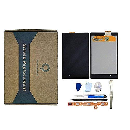 Nexus 7 (1st Gen) LCD Screen Touch Digitizer Front Panel Assembly Replacement with Power Volume Button Flex Cable+tools kit for Asus Google Nexus 7 2012 3G&Wi-Fi Model (Nexus 7 Tablet Replacement Screen)