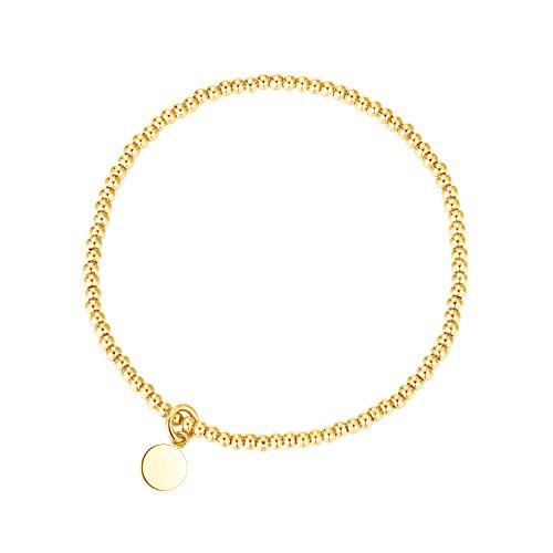 Gold Bead Stretch Bracelet - MetJakt Sleek Elastic Beads 18K Gold Plated Classic Stretch Bracelet with Various Pendants (disc, yellow-gold-plated-base)