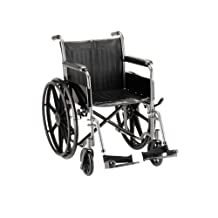 NOVA Medical Products 20-Inch Wheelchair with Fixed Arms and Swing Away Footrests in Hammertone