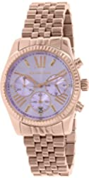 Michael Kors MK6207 Women's Lexington Chr Rose Stainless Steel Lav Dial, Rose Gold, 38