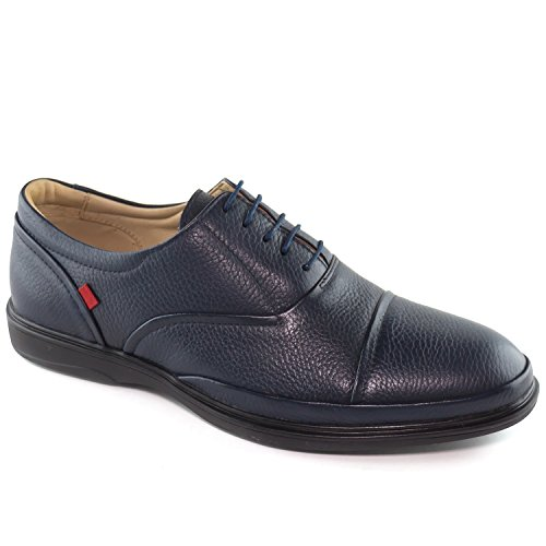 Ny Fashion (Mens Genuine Leather Made In Brazil Broad Street Classic Oxford Navy Grainy Lace Up Marc Joseph NY Fashion Shoes 12)