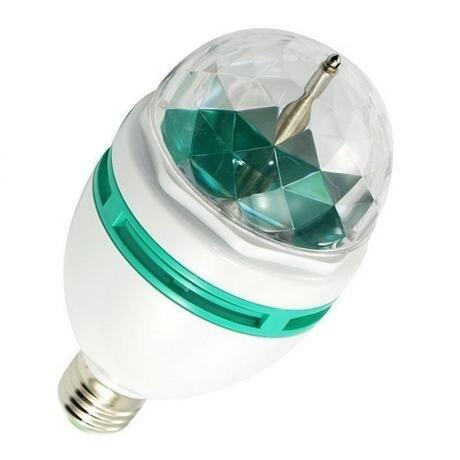 E27 Stage Light Bulb, 3W LED RGB Full Changing Color Crystal Rotating Strobe Ball For Club Bar DJ Birthday Party