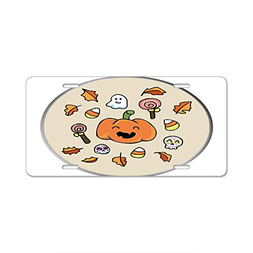 (Personalized Name On License Plate - Halloween Doodles Custom Auto Car)