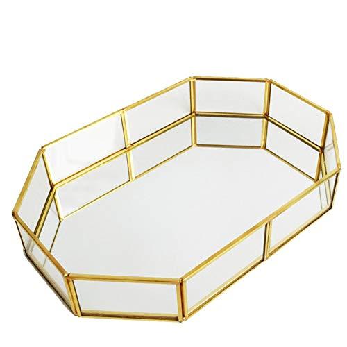 Glass Jewelry Tray Mirrored Glass Tray Gold Jewelry Dresser Tray Vintage Jewelry Tray Decorative Tray Trinket Glass Fruit Tray Makeup Organizer for Vanity Ornate Jewelry Perfume Bathroom Display (Dresser Vintage Mirrored)