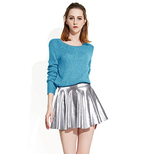AbbyLexi Women's Disco Mini Skirt Metallic Wet Liquid Faux Leather Skirts,Silver (Leather Liquid Silver)