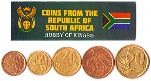 Hobby of Kings Different Coins - Old, Collectible South African (RSA) Foreign Currency for Collecting Book - Unique, Commemorative World Money Sets - Gifts for Collectors - Collection of 5