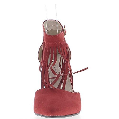 10 rouges frange talons Escarpins aspect pointus ouverts daim de à avec cm qX5wz7wF4