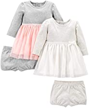 Simple Joys by Carter's Baby-Girls 2-Pack Long-Sleeve Dress Set with Bloomers Casual D