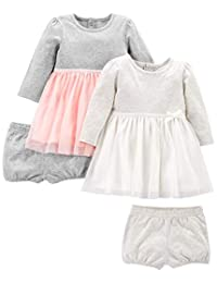 Simple Joys by Carter's Girls' 2-Pack Long-Sleeve Dress Set with Bloomers, Pink/Gray,
