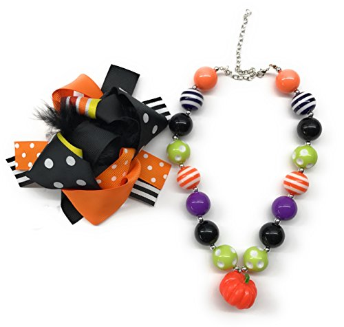 (Cute Kids Clothing Newborn Toddler Girl/Girls Halloween Hair Bow Beaded Pumpkin Chunky Necklace)