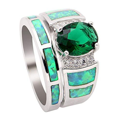 - UFOROO Opal Ring Set Platinum Plated Wedding Rings for Women Ring Set of 7 Rings with opals