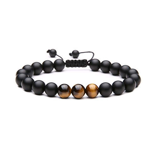 (MAOCEN Handmade 8mm Matte Black Onyx Stone and Tiger Eyes Stone Bead Bracelet for Men Size Adjustable)