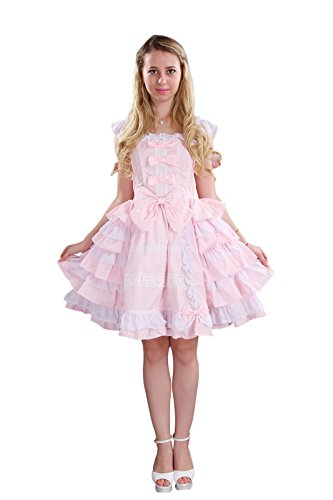 Nuoqi Customized Princess Court Lolita Dress Lace Cosplay Costumes Pink CC220J-CT]()
