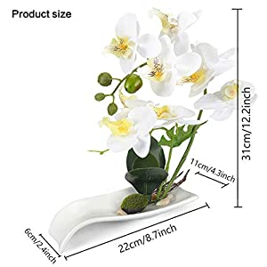 YOBANSA Orchid Bonsai Artificial Flowers with Imitation Porcelain Flower Pots Phalaenopsis Fake Flowers Arrangements for Home Decoration (White) 2