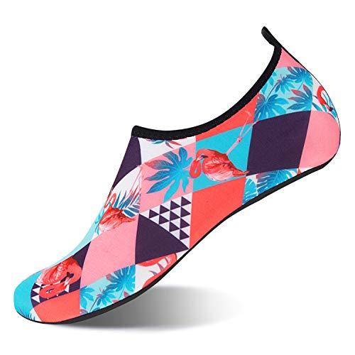 NING MENG Aqua Socks Beach Water Shoes Barefoot Yoga Socks Quick-Dry Surf Swim Shoes for Women Men Flamingo-b