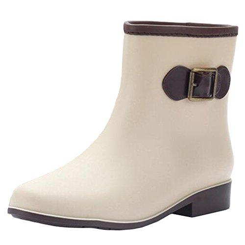 Highdas Damen Regen Stiefel Damen Wellies Low Slip On Wellington Stiefel Gummi Regen Aprikose