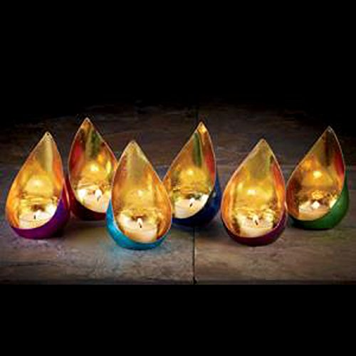 IHI Petal Shape Gold MetallicTealight Candle Holders (Set/6)