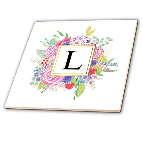 Ceramic Letter Tiles - 3dRose Garden Flag, White