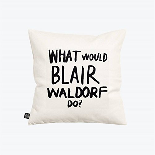 SCO-O Home Square Decorative Throw Pillow Case Cushion Cover White And Black BLAIR WALDORF 18In (Waldorf Store)
